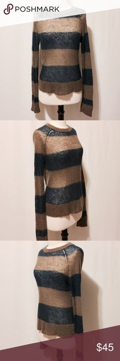"⭐️ Olive & Navy Wool & Mohair Stripe Sweater NWOT Lightweight fine gauge sweater. Extra long sleeves, ribbed neckline, cuffs and hem. 40% Wool 25% Nylon 25% Mohair Dry Clean Only 40"" Chest 31"" Sleeve length 21""overall length #VS1001016 Sweaters Crew & Scoop Necks"