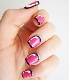 How cute are these? They add a unique look to your hands, but that black outline can't be easy to pull off. See the original tutorial at Cute Polish.