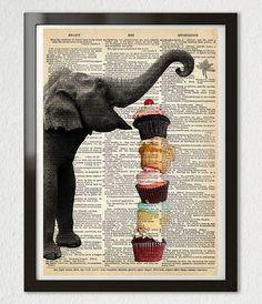 ELEPHANT Cupcakes Party Cake Art Print Funny ORIGINAL Mixed Media GICLEE Illustration Poster Antique Dictionary Book Page 8x10 +More Sizes