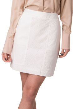 fd3327da1d DKNY Mini Pencil Skirt Size 6 / S White Fully Lined Embroidered Eyelets  #fashion #