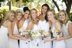 White Bridesmaid Dresses, Real Florida Weddings: Tristan Eckert and Julien Gremaud | Weddings Illustrated