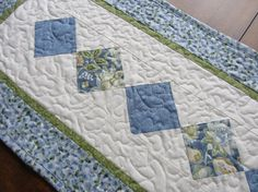 Blue Quilted Patchwork Table Runner Cottage by PatsPassionQuilteds