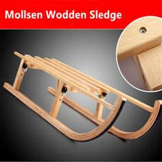 Mollsen folding wooden ski beech sleds for adults