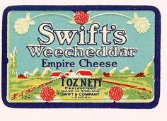Vintage Cheddar Empire Cheese label London UK by HelenLaRuse, $1.50