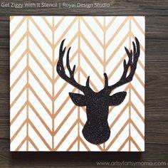 DIY Glitter Reindeer Canvas Wall Art using herringbone wall stencils from Royal Design Studio - via artsyfartsymama