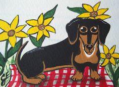"""Black and Tan Doxie Picnic"" Original Painting  Artist Trading Card Julie Ellison Artist"