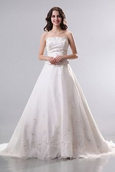 Sweetheart Organza White Wedding Gowns ted0714 - SILHOUETTE: A-Line; FABRIC: Organza; EMBELLISHMENTS: Embroidery , Beading; LENGTH: Chapel Train - Price: 167.2400 - Link: http://www.theeveningdresses.com/sweetheart-organza-white-wedding-gowns-ted0714.html
