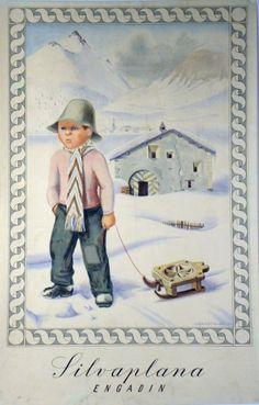 Silvaplana, Engadin by Stoecklin Niklaus / 1946 Retro Poster, All Poster, Vintage Travel Posters, Fürstentum Liechtenstein, Snow Place, Travel Ads, Mountain Designs, My Heritage, Golden Age