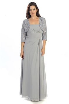 Long Pleated Mother of Bride Groom Classic Dress With Jacket
