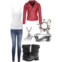 Once Upon A Time Emma Swan by chelgeland on Polyvore featuring Forever New, Korintage, J Brand, Once Upon a Time, Waxing Poetic and emma swan ouat onceuponatime once upon a time