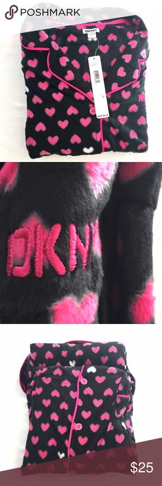 💕DKNY FLEECE PJs WITH PINK HEARTS SIZE LARGE 💕 Black fleece PJs with pink hearts by DKNY.  NWT. Perfect for Valentine's Day! Size Large DKNY Intimates & Sleepwear Pajamas
