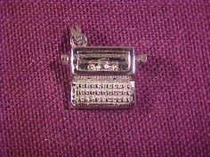 Vintage Monet Typewriter Silver Tone Charm Carriage Knobs Turns Great Condition…