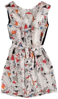 A day-to-evening ensemble instantly takes shape with this geometric-print dress by Ambrym. Silk screened in Paris, the Elgon shift juxtaposes the elaborate, eye-catching angles of the print with the delicate textile from which it is cut. Cinch it at the waist for a feminine silhouette or allow it to hang straight over the body for an edgy effect that reflects its architectural inspiration.
