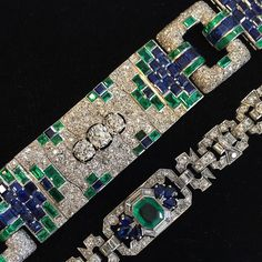 """1,091 Likes, 33 Comments - Christie's Jewelry (@christiesjewels) on Instagram: """"Green and blue #ArtDeco bracelets from our #NewYork Important Jewels preview. View open to the…"""""""