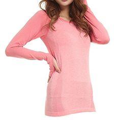 34d81769b40 LWJ 1982 Womens Sports Skin Gym Yoga Run Seamless Long Sleeve Function  Fitness TShirts Small Pink