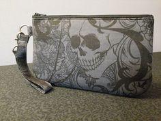 Large After Dark Wristlet, #handmade #handmadebags #skullbags #macabrebags #skulls #macabre