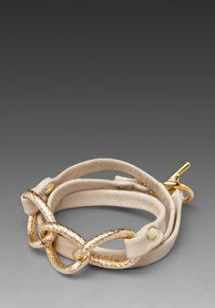 GORJANA Parker Leather Wrap Bracelet in Bone at Revolve Clothing
