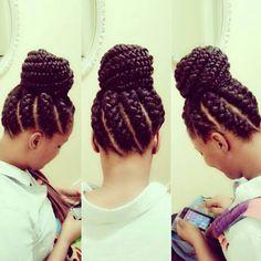 Goddess Braids And Bun - http://www.blackhairinformation.com/community/hairstyle-gallery/braids-twists/goddess-braids-bun/ #braidsandtwists