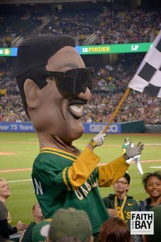 Oakland A's: Celebrating 50 Years of Legacy & Making More Memories. Rickey Henderson mascot at opening night of the 2018 Oakland Athletics baseball game. #RootedInOakland
