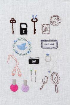 ワンポイントに使えばおしゃれになる、大人のための刺しゅうモチーフ。/はじめてさんの刺しゅう(「はんど&はあと」2011年9月号) #craft #diy #embroidery #needlecraft