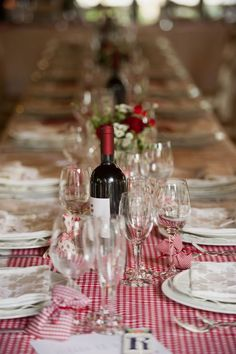 Red and White Check Tablecloth Set The Mood For A Simple/Elegant Table Setting
