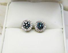 New 10K White Gold Ladies Genuine Blue Diamond Fashion Stud Earrings .25Ct 5B
