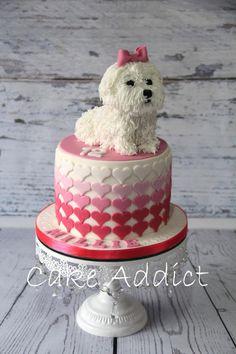 Maltese cake by Cake Puppy Birthday Cakes, Puppy Birthday Parties, Themed Birthday Cakes, Birthday Cake Girls, Themed Cakes, Puppy Party, 12th Birthday, Dog Birthday, Pretty Cakes