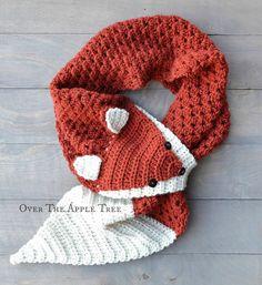 Fox Scarf Winter Scarf Crochet Scarf Keyhole por OverTheAppleTree