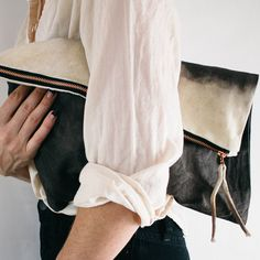Dipped Acorn Foldover Bag // Using the abundant live oak acorns gathered in the Sierra Nevada Mountains, this organic, duck canvas bag is hand dyed and waxed with natural beeswax to make it durable, water-resistant and smell wonderful. Foldover Clutch, Clutch Bag, Tote Bag, My Bags, Purses And Bags, Fashion Bags, Womens Fashion, Vogue, Boho