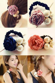 [Visit to Buy] Cute Fashion Beautiful Rose Flower Elastic Hair Tie Hair Band Rope Hairdressing Accessories Fashion Hair Accessories Hair Style #Advertisement