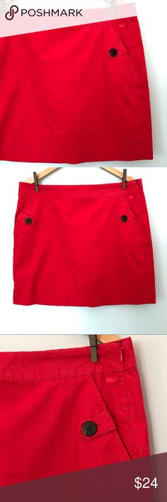 """Vineyard Vines Red Corduroy Preppy Skirt w/Pockets Vineyard Vines red corduroy mini skirt.  Cute embroidered whale and whale print inside the waist band and pockets.  Anchor buttons.  Side zip.  In excellent condition.  98% cotton, 2% spandex.  Approx. flat lay measurements: waist 18"""", length 18 1/2"""". Vineyard Vines Skirts Mini"""