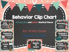 This behavior clip chart was created for a Nautical Themed Classroom.  The main colors are Vintage Blue and Coral.  The headers for the Clip Chart are as follows from top to bottom:Role Model - Thanks for being a great example.Awesome Choices - I'm so proud of you.Great Job - Keep it up.Ready to LearnWarning - Stop and think about it.Teacher's Choice - Loss of privileges.Parent Contact - Make better choices.Please check out my other classroom decor items.