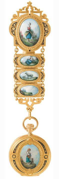 Patek-Philippe pendant landscapes watch hanging on a Chatelaine, 1860's
