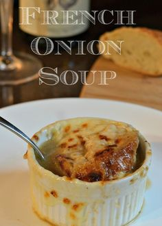 This French Onion Soup is right from Dori Greenspan's book Around My French Table. No one makes French Onion soup quite like the French do. Not an ingredient was changed. Homemade French Onion Soup, Soup Recipes, Cooking Recipes, Recipies, Small Oven, Fresh Bread, Soup And Salad, Soups And Stews, Yummy Food