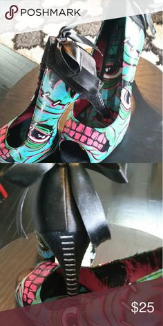 Iron Fist Heels Size 11 Iron Fist Brand Heels- Zombie Stomped Plat- Black Green. Mint Condition -Like New! Iron Fist Shoes Heels