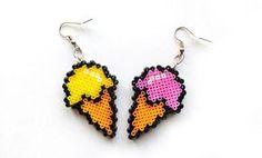 Ice Cream Earrings Mini Perler Beads Mini Hama by 8BitEarrings