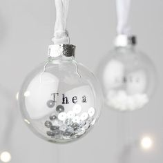 personalised glass bauble with sequins by twenty-seven | notonthehighstreet.com