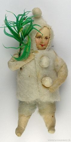 Spun cotton Christmas ornament. Snow baby carrying (feather) tree branch.