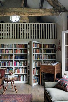 Hidden passageway bookshelf leading to a secret reading room, perfect escape. ♡ More
