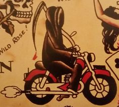 Traditional/old school tattoo, sailor jerry, grim reaper, motorcycle