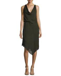TV6G2 Haute Hippie Roberta's Draped Silk Midi Dress, Olive