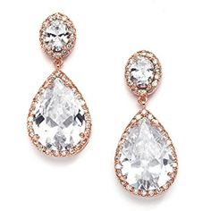 Mariell 14K Rose Gold Clip On CZ Wedding Earrings with Oval-Cut Halos and Bold Pear-Shaped Dangles