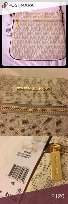 New Michael Kors Purse!  Gorgeous!!! Gorgeous new Michael Kory purse cream-colored with brown and gold accents and leather strap.  Flat cross body body style retails for $178 Michael Kors Bags Crossbody Bags