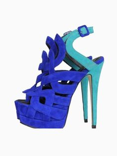 Heels I LOVE! Perfect Sandals to wear with the Cobalt Blue Dress! Contrast Color Blue Suee Strappy High Heeled Sandals