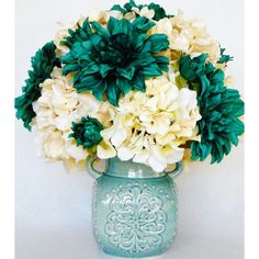 Artificial Flower Arrangement, Green/Teal Dahlias Cream Colored... ❤ liked on Polyvore featuring home, home decor, floral decor, teal home accessories, silk hydrangea arrangement, hydrangea silk flowers, fake hydrangea arrangement and green silk flowers