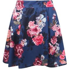 Boohoo Elspeth Floral Print Full Skater Skirt (42 RON) ❤ liked on Polyvore featuring skirts, pleated skirt, circle skirt, maxi skirt, flared maxi skirt and mini skirt