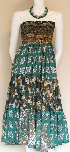 Tube Dress  Vintage silk / Silk Dress / Green by SilkinaFashions