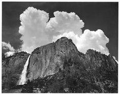 """ansel adams - yosemite falls at yosemite nat. park (a.k.a. """"upper yosemite falls - thunder cloud), c. 1945."""