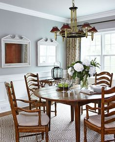 Charming East Hampton Cottage - Traditional Home®; trim in Benj Moore WHITE DOVE and walls in OZARK SHADOWS AC-26