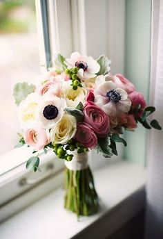Hand tied bouquet-white anemones, pink ranunculus, cabbage roses, green Hypericum berries and dusty miller from Town and Country Floral Ranunkel Romance in Bloom in Granbury, TX Wedding Flower Guide, Summer Wedding Bouquets, Cheap Wedding Flowers, Rose Wedding Bouquet, Wedding Dresses, Bridal Bouquets, Beautiful Flower Arrangements, Wedding Flower Arrangements, Floral Arrangements